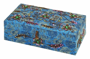 Jewelry Box Designed with Sequin Beads and Stones in Blue Brand Woodland