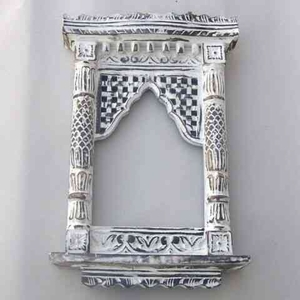Jharoka Mirror - Aged White Wood Indian Balcony Mirror Decor Brand IOTC
