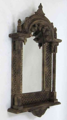 Jharoka Mirror - Aged Wood Indian Balcony Mirror Decor Brand IOTC