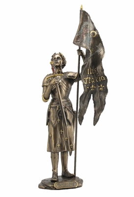 Joan of Arc Standing with Sword and Flag in Cold Cast Bronze Brand Unicorn Studio