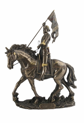 Joan of Arc Statue on Horse Back with Flag in Cold Cast Bronze Brand Unicorn Studio