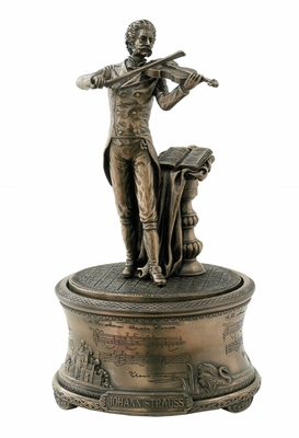 Johann Strauss II Music Box Statue in Cold Casted Bronze Brand Unicorn Studio