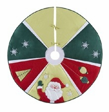 Jolly Santa Themed Wrap Around Christmas Holiday Tree Skirt Brand C&F