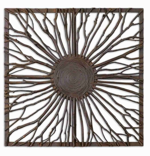 Josiah Square Wood Wall Art With Real Wooden Branches Brand Uttermost