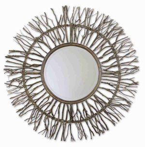 Josiah Wood Mirror with All Natural Woven Birch Branches Brand Uttermost