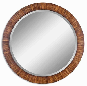 Jules Wood Wall Mirror with Antiqued Zebrano Veneer Frame Brand Uttermost