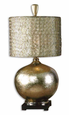 Julian Poly Metal Antiqued Champagne Leaf Table Lamp Brand Uttermost