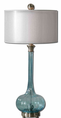 Junelle Blue Glass Table Lamp with Aluminum Detailing Brand Uttermost