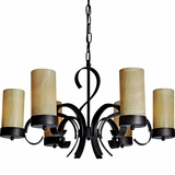 Juniper Collection Beautiful 6 Light Chandelier with Dark Burgundy Shade by Yosemite Home Decor