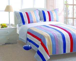 Just 4 Kids Collection Prairie Stripe Multi Color Standard Sham by Greenland Home Fashions