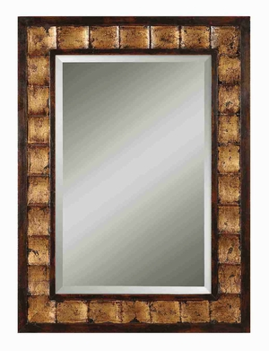 Justus Wood Mirror with Distressed Gold Leaf Mahogany Tone Brand Uttermost