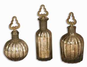 Kaho Style Perfume Bottles In Brass and Antique Silver Finish Brand Uttermost