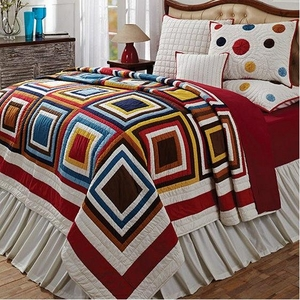 Kaleidoscope Queen Quilt with Multicolored Square Design Brand VHC
