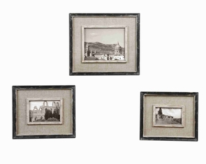 Kalidas Cloth Liner Photo Frame Set With Distressed Black Frame Brand Uttermost