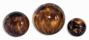 Kameko Spheres Decor Set In Smooth Tortoise Glass Brand Uttermost