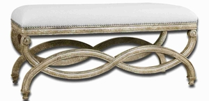 Karline Natural Linen Bench With White Mahogany and Almond Finish Brand Uttermost