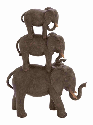 Kassel Elephant Stack Fabulously Etched Aesthetic Statuette Brand Benzara