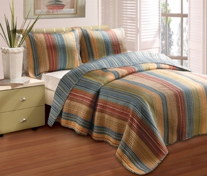 Katy Colorful Stripes Cotton Quilt Cal Queen + 2 Shams Brand Greenland Home fashions