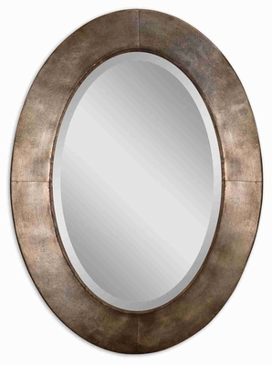 Kayenta Oval Mirror with Hand Forged Silver Leaf Metal Frame Brand Uttermost