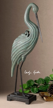 Keanu Heron Sculpture, Ceramic Heron Statue by Carolyn Kinder Brand Uttermost