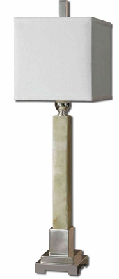 Kemonte Green Marble Buffet Lamp with Silver Detailing Brand Uttermost