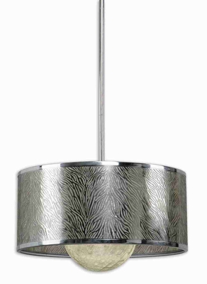 Kenza 1 Light Drum Pendant Lamp With Antiqued Silver Shade Brand Uttermost