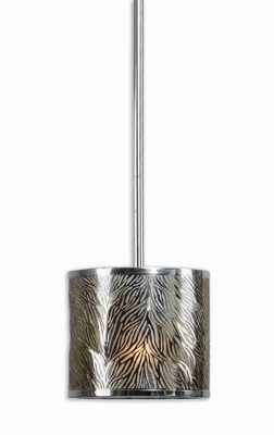 Kenza 1 Light Mini Drum Pendant Lamp With Antiqued Silver Shade Brand Uttermost