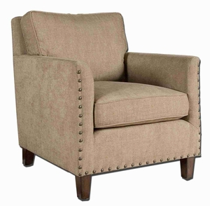 Keturah Chenille Armchair With Curved Track Arms Brand Uttermost