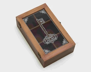 Key Themed Wooden Box with an Antique Finish Brand Benzara