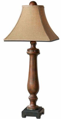 Kezia Buffet Lamp in Wood Finish with Silver Accents Brand Uttermost