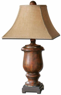 Kezia Wood Table Lamp with Champagne Silver Accents Brand Uttermost