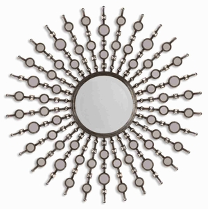 Kimani Antique Mirror with Small Accent Mirrors in Burnished Silver Brand Uttermost