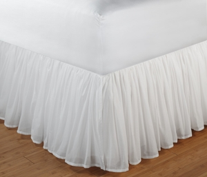 King Size Bedskirt, Cotton Voile, White, 78X80X14 Inch Brand Greenland Home Fashions