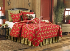King  Size Holly Red Holiday Quilt Cotton 108  Inch X 92 Inch Brand C&F