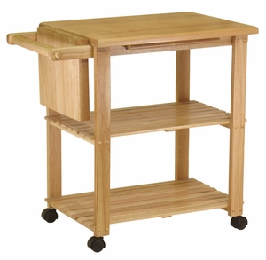 Kitchen Cart with Cutting Board, Knife Block and Shelves by Winsome Woods