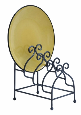 Kitchen Plate Holder With Scrolling Iron 4 Plates Capacity Brand Woodland