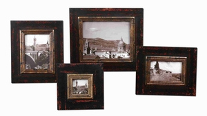 Kitra Distressed Photo Frame Set With Antique Gold Lip Brand Uttermost