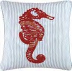 Knotty Buoy Chain Stitch Seahorse Pillow 20 x20 Inches Brand C&F
