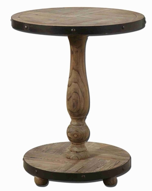 Kumberlin Wooded Accent Table With Black Metal Banding Brand Uttermost