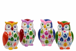 Kyoto's Attractive Ceramic Owl Money bank Set of Four