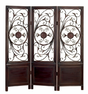 WOOD METAL 3 PANEL SCREEN ULTIMATE IN ITS CATEGORY - 86285 by Benzara