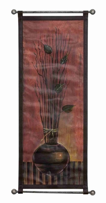 "La Branch Leather Wall Hanging W Metal Scroll 51""x23"" Brand Woodland"