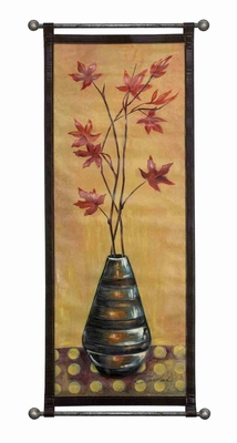 "La Fleur  Leather Wall Hanging W Metal Scroll 51""x23"" Brand Woodland"