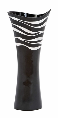 Lacquer Vase With Silver Wave Design Over The Black Lacquered Body Brand Woodland