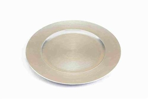 Lacquered Leaf Rim Charger Plates in Silver Finish - Set of 24 Brand Benzara