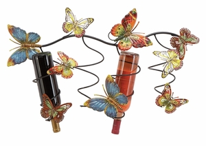 Lacquered Metal Wine Holder in Multi Color with Butterfly Design Brand Woodland