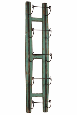 Ladder Shaped Blue Colored Trendy Wine Holder by Urban Trends Collection