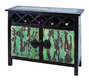 Lahasa Wine Cabinet with Lacquered Design in Mahogany Wood Brand Woodland
