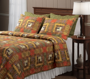 Lakewood Lodge Reversible Quilt Set for Twin Bed in Rustic Design Brand Green Land