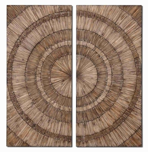 Lanciano Wall Art In Natural Wood Chips and Burnished Wash Brand Uttermost